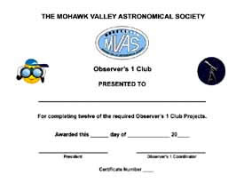 MVAS Observing Club 1 Certificate