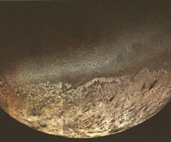 Triton, as seen by the Voyager 2 spacecraft. Image courtesy NASA/JPL